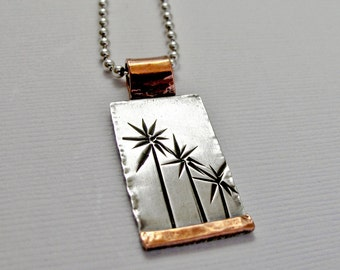 California Palm Tree Lined Street Necklace - Sterling Silver and Copper