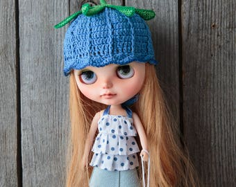 Blythe hat, blue bell hat for Neo Blythe Doll, sweet blue helmet, bell blythe hat, blythe outfit, handmade blythe doll clothes RainbowBlythe