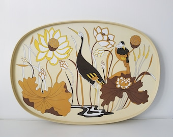 70s 80s St Michael melamine serving tray with stork and reed design art nouveau revival