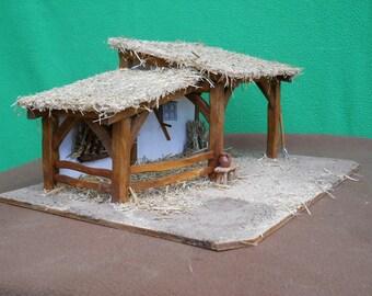 """Crèche de Noël artisanale """"Joseph"""", éclairée, tout en bois"""