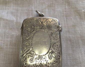 Sterling silver match vesta case
