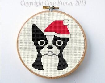Boston Terrier Christmas Cross Stitch Pattern Instant Download Digital cute Santa Dog