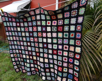Vintage Granny Hand Crochetted Wool Colorful  Patches Blanket/Quilt/Throw Blanket