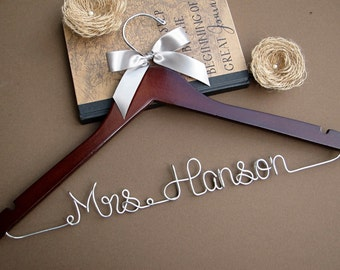 SALE Personalized Bridal Hanger / Wedding Hanger / Custom Hanger / Bridesmaid Gift / Bridal Shower Gift / Pick Your Ribbon Color