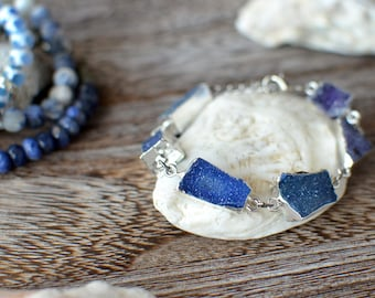 Blue Druzy bracelet