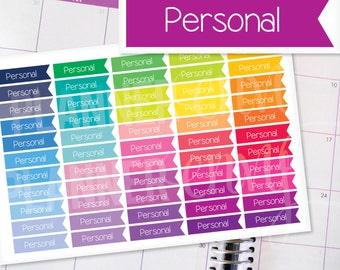 Planner Stickers Erin Condren Life Planner (Eclp) - 55 Personal Flag Header Stickers (#7010)