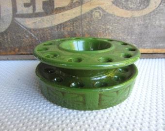 Vintage Green Ceramic Flower Frog Made in Japan