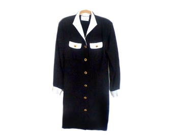 Vintage ADOLFO Black and White Dress Neiman Marcus Size 4 / 6 Small Tailored Silk Long Sleeves Knee Length