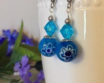 Blue millefiori dangle/drop earrings, venetian/murano style, flower earrings