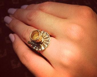 Brass Gold Tea Cup and Saucer Ring