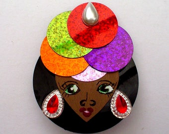 AFRICAN Face handmade brooch, Afro American Woman traditional headdress gift for her, wearable art brooch unique ethnic fashion original,
