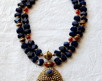 Large Buddha Head Pendant Lapis & Carnelian Beads Double Strand Zen Inspired Statement Necklace, ZL03172  Big Buddha Blue