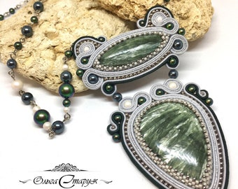 Necklace green and grey serafinite soutache big necklace handmade jewelry exclusive necklace natural stones