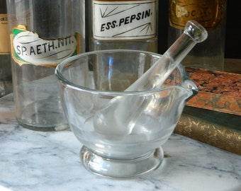 Vintage Clear Glass Mortar and Pestle.