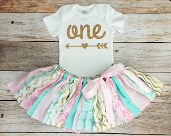 Mint, Pink and Gold Birthday Outfit, Arrow Bodysuit, First Birthday Outfit/Fabric Tutu/Baby Girl