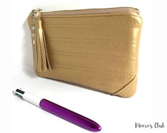 Gold Imitation leather pochette-leather Bag