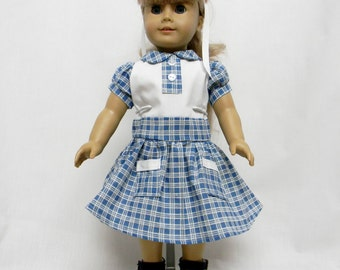 Vintage Blue & White Check Dress For 18 Inch Dolls Like The American Girl