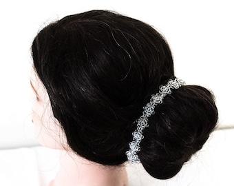 687_White crystal tiara, Crystal flowers headband, Headband for bride, Wedding hair accessories, Crystal tiara,Silver headband Wedding tiara