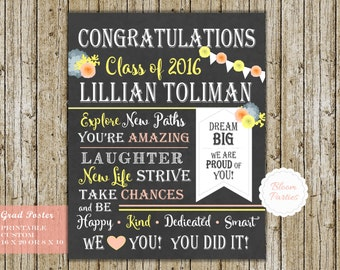 Graduation Party Poster, Personalized High School Graduation Party Decorations College Graduation Banner - Custom Printable Chalkboard Sign