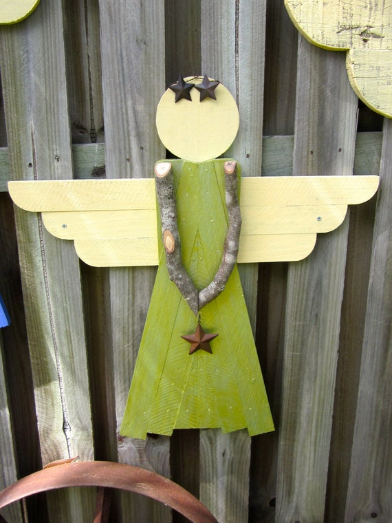 Items Similar To Rustic Wooden Garden Angel Garden
