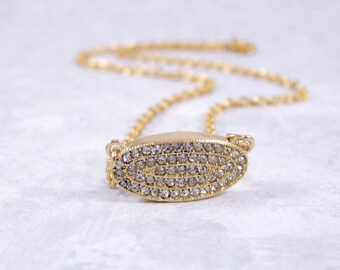 Gold Pave Necklace, Pave Charm Necklace, Gold Rhinestone Necklace, Gold Pave Choker, Gold Choker Necklace, Short Gold Necklace