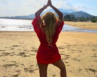 Havana - Luxurious Red Satin Beach Cover up with Rhinestones