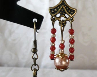 Earrings coral, gold and bronze 6cm