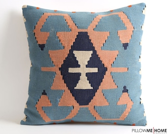Blue kilim pillow cover, 20x20 kilim cushion, bohemian decor pillow