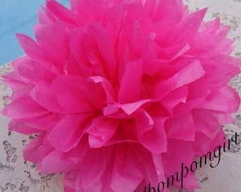 HOT PINK / 1 tissue paper pom pom / baby shower / wedding / birthday / bridal shower / nursery decor / anniversary / photo prop / DIY