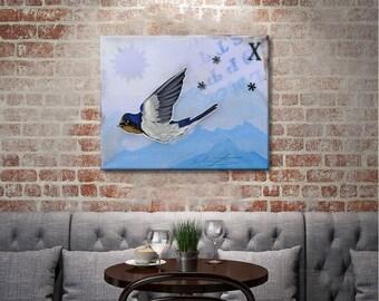 HD canvas print barn swallow oil painting Kids room decor wall art  (No Frame) 16x20inch