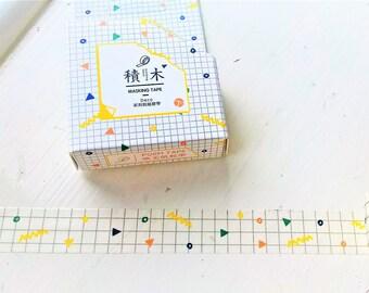 Triangles washi tape, circles, squiggles tape, MT, washi, tape, bullet journal, triangle washi, deco tape, washi uk, retro washi tape
