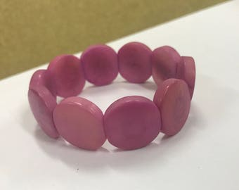 Tagua nut jewelry-  stretchy bead bracelet soft pink.