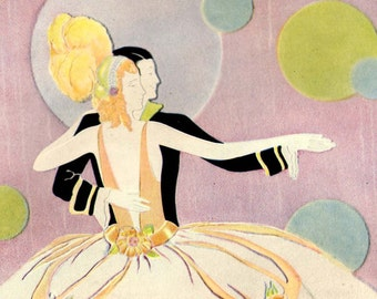 Ballroom Dancers Face Powder Advertisement 1920s Vintage Color Lithograph Ad To Frame