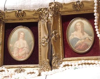 Vintage Pair of Cameo Miniature Paintings By Vincent Nesbert