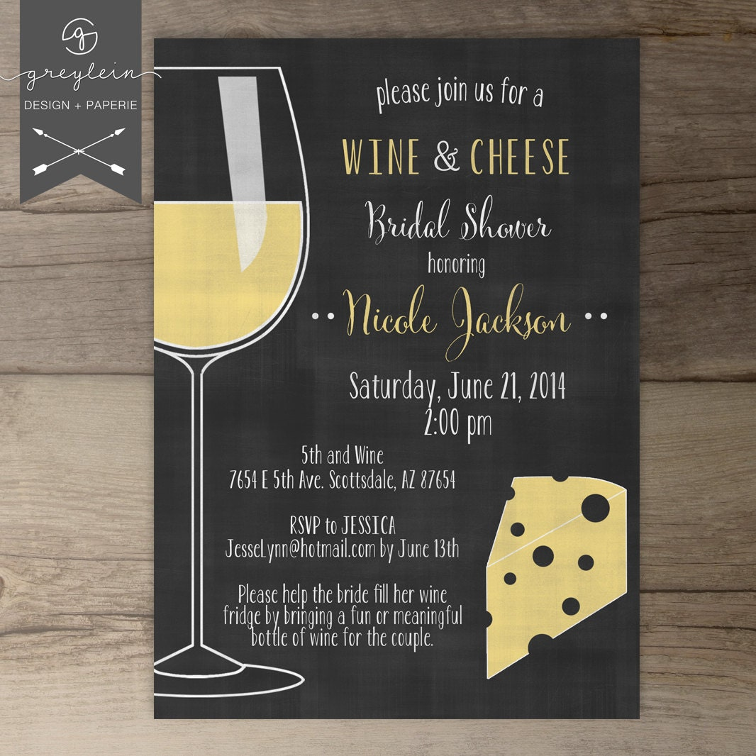 Wine and Cheese Invitations / Chalkboard / Dinner Party
