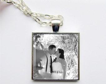 Photo Necklace, Custom Photo Jewelry, Wedding Keepsake Pendant