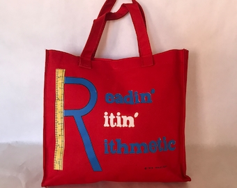 """Vintage Late 70s Travelight Red """"Readin' Ritin' Rithmetic"""" Tote Bag / Top Handles / Snap Closure"""