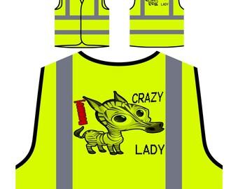 Crazy Zebra Lady Yellow Safety Jacket Vest u327v