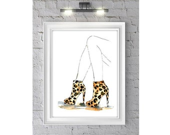 Fashion Illustration Watercolor Painting Print 'Leopard Booties' -- Home/office decor and wall art, Fashion prints Leopard shoes