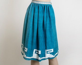 Vintage Guatemalan Skirt - Woven Turquoise Blue 1950s Ethnic Folk Skirt - Wave Mouse Swirl Design - Border Print - Bohemian Boho - Small