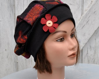 Soft jersey unlined black and red - T beret. 55-57cm