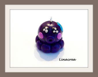 Charm little purple Octopus polymer clay and his little blue flower 15 mm
