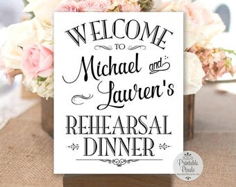Signe de dîner de répétition imprimable, lettres noires, Bienvenue, personnalisé avec un nom, #REH1B