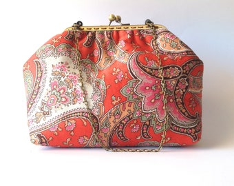 Red frame purse, Floral Kiss lock Clutch, Make up Cosmetic floral pouch, fabric handmade handbag, metal clasp bag ct031