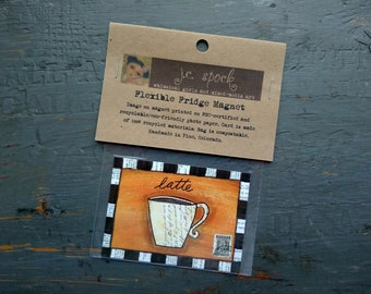 "SALE!  Art Magnet, Flexible magnet, fridge magnet, whimsical coffee, latte art, mixed media art, 2.5"" x 3.5"" (64 x 89mm) ""Cafe Latte"""