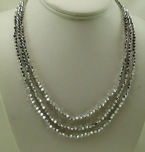 Comet Double Coated Crystal Triple Strand Necklace with Silver Clasp 18 Inches