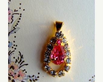 ONSALE Gorgeous Feminine Vintage Pink Rhinestone Pendant