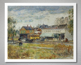 End of The Tram, Oak Park, Illinois by Childe Hassam - Poster Paper, Sticker or Canvas Print / Gift Idea