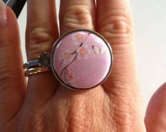 Silver ring with cherry blossom