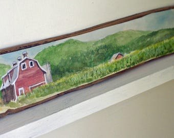 Red Barn Watercolor Landscape Vermont Reclaimed Wood Original Art